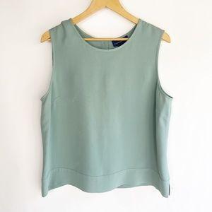 Charter Club Size 16 Green Blouse Top 100% Silk
